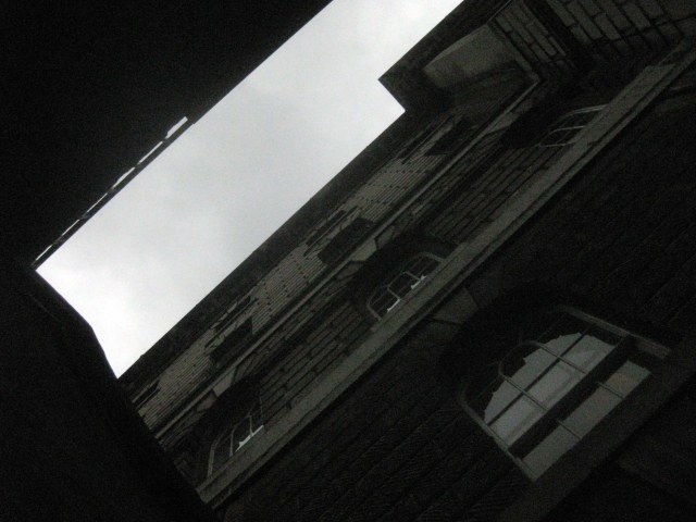 Looking up at Somerset House from the light well.