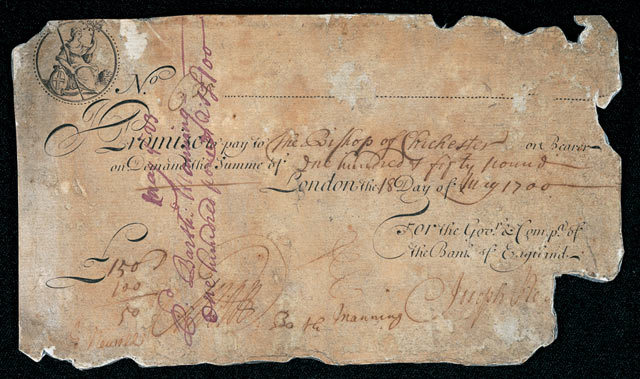 A cash note from 1700 bearing the words: Promise to pay.... a legend still found on modern bank notes