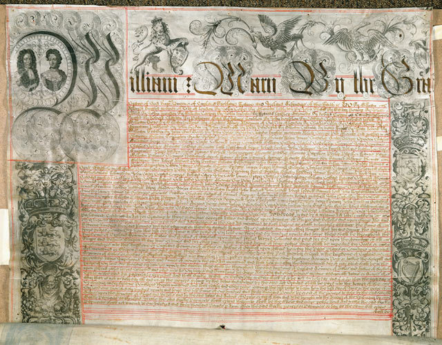 The Bank of England's first charter - The royal seal of the joint monarchs, William and Mary, was affixed on 27th July 1694. The document laid down the conditions under which the Governor and Company of the Bank of England were to operate.