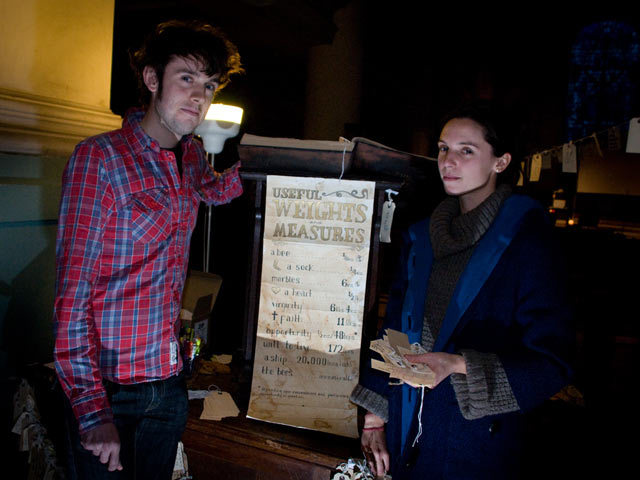 The book of Lost Things in which the artists transcribe all the lost things, along with a weights and measures chart of lost items plus Allegra and Ben of Ignore the Forecast. Alex Muller