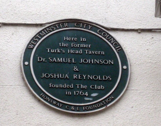 Sir Joshua Reynolds and Dr Johnson are two Londoners who hopefully need no introduction. Together, they founded The Literary Club (a general talking shop for anything except politics) at the Turk's Head Tavern, here at number 9. Reynolds lived round the corner, on the site of the old Swiss Centre.