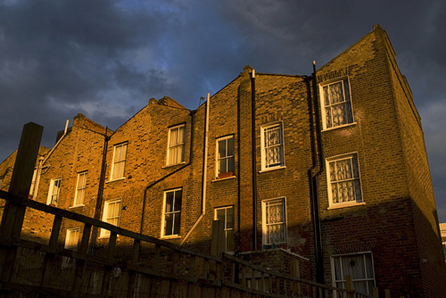Sunlight hits a Victorian terrace