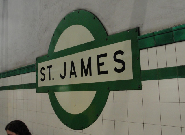A roundel and tube-style tiling, AND District Line green? St James, you spoil us.