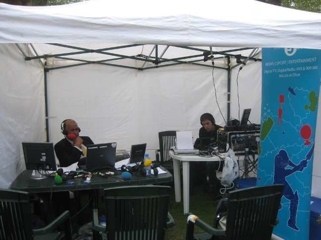 BBC 5 Live relaxing in their gazebo
