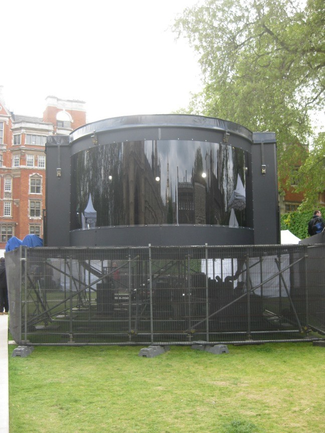 "The BBC had landed a spaceship-style ""Bubble Studio"" on College Green to head up what looked like nine separate BBC bases on a small patch of grass"