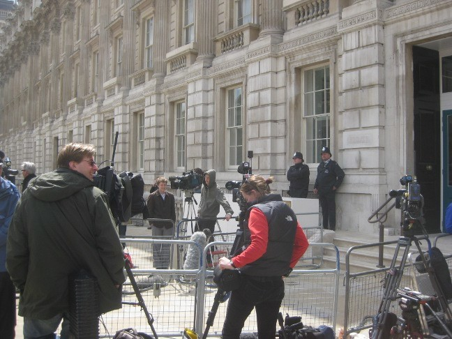 Cameramen were staking out the steps of the Cabinet Office, the scene of talks between the Conservative and Liberal Democrat negotiators