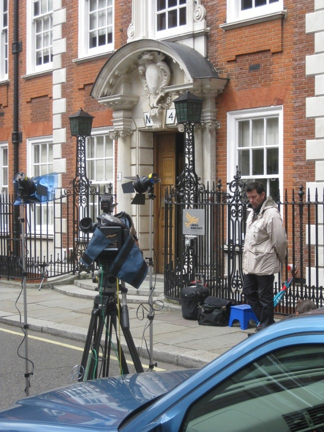 Camera closely trained on the door to the Liberal Democrats Cowley Street Headquarters