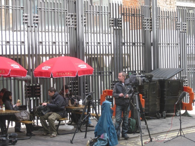 Cameramen staking out Derby Gate, the entrance to Norman Shaw Buildings, and David Cameron's current offices