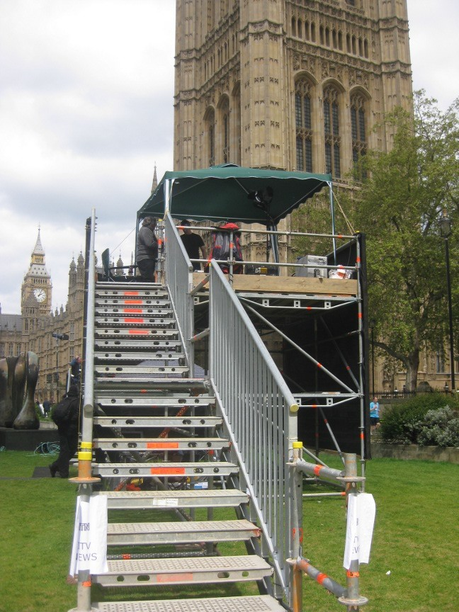 ITN had two identical bases, with massive staircases to take presenters above the other rigs