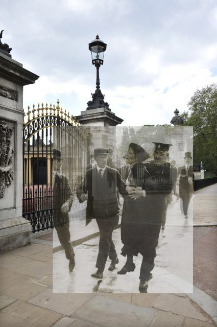 Mrs Pankhurst in a spot of bother outside Buckingham Palace.