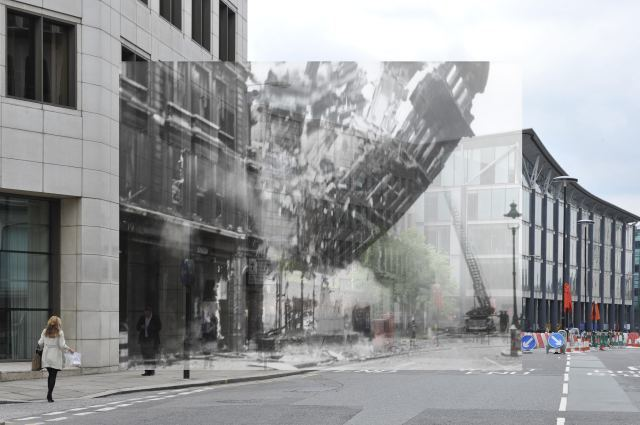 A Blitz-bombed building collapses onto modern Queen Victoria Street.