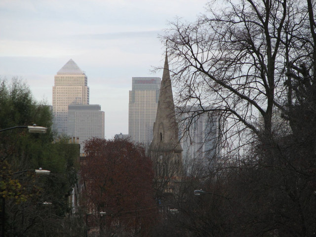 St John's church, with Canary Wharf in the background / image by Jon Godsell