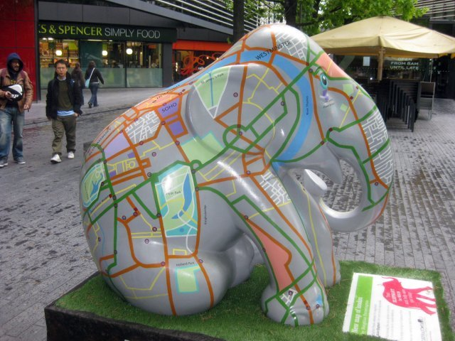 Another mappish elephant, this time at More London. Image by M@.