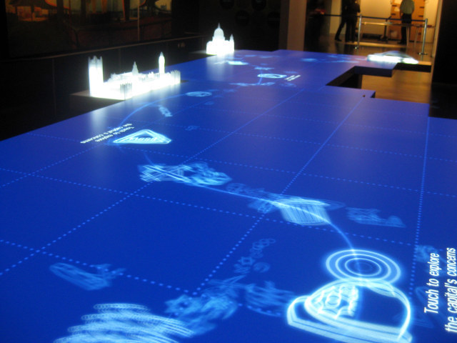 If Tron visited London. One of the new interactive displays poses questions about London's future (pictured in idle mode, with lots of swirly blue things). Image by M@.