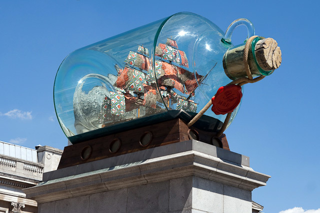 Cupola of the National Gallery warped by the perspex bottle