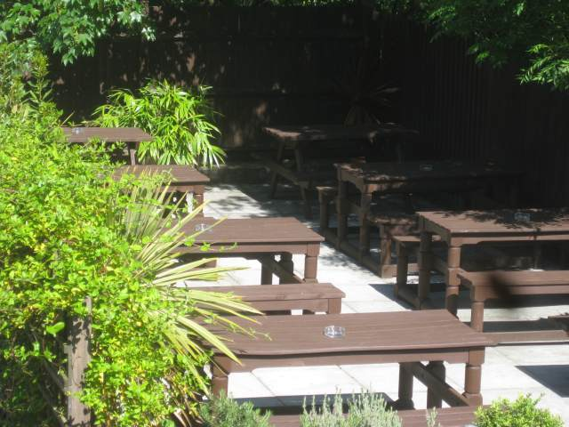 All Inn One's beer garden is simple but very welcome. Surprisingly empty for a sunny Sunday though.