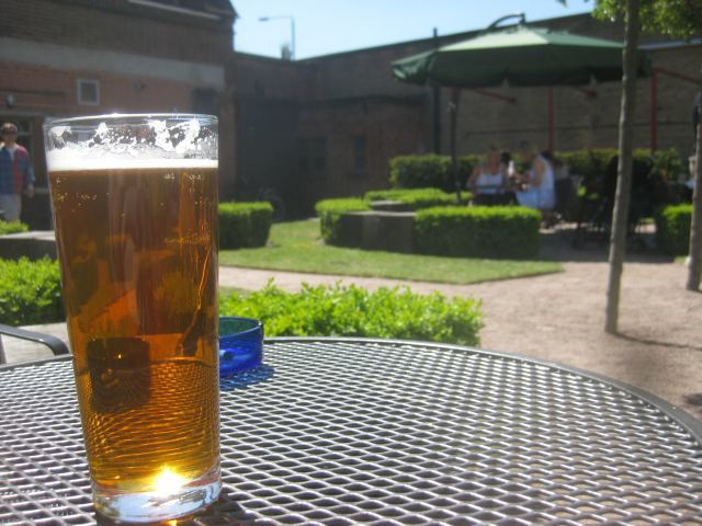 The splendid beer garden of The Dolphin.