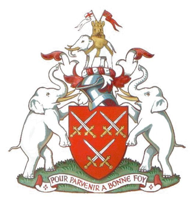 The arms of the Worshipful Company of Cutlers, whose fondness for ivory led to the inclusion of three elephants on their logo.