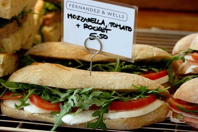 Mozzarella and tomato sandwich