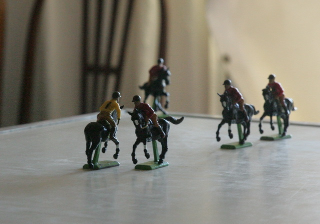 Equestrian figurines demonstrating that polo is a lot like driving - you have to stay in your lane!