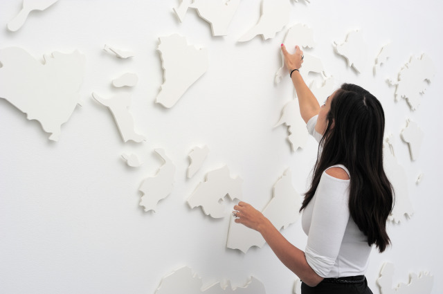 Oraib Toukan has taken a hypothetical map of the Middle East and broken it down into magnetic jigsaw pieces. The parts can be manipulated on the wall by visitors.