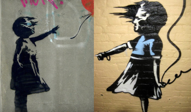 Left: Banksy original balloon girl (image by Herschell Hershey in Londonist Flickr pool. And right: the new version, surely by a different artist.