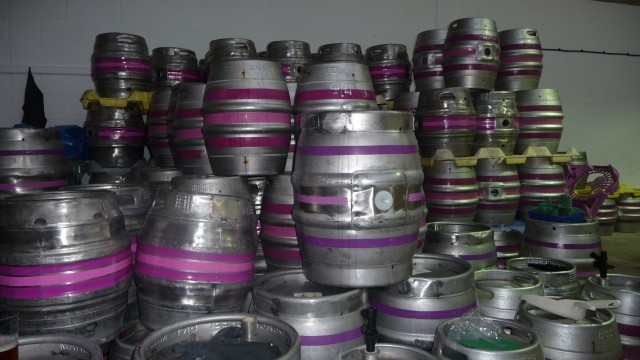 The purple and pink colours were chosen to avoid Redemption's casks being mistaken for those of any other London brewer. Photo by Jason B. Standing