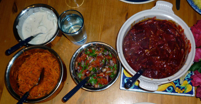 R-L: spiced beetroot, tomato and onion chutney, carrot salad and raita