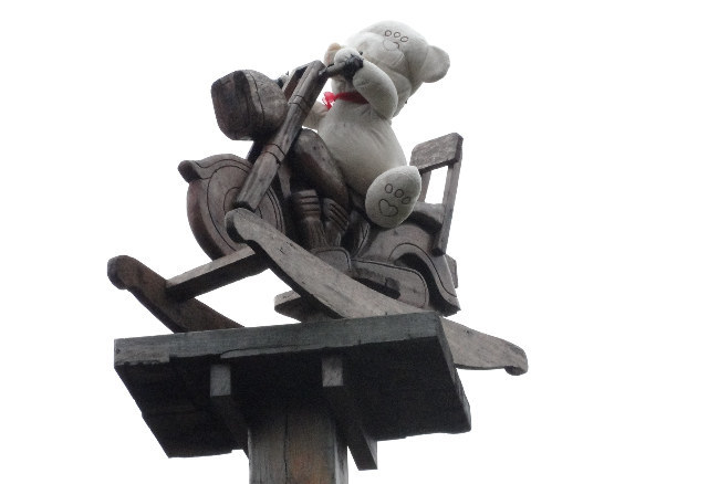 Current plinth occupant: bear on a motorbike