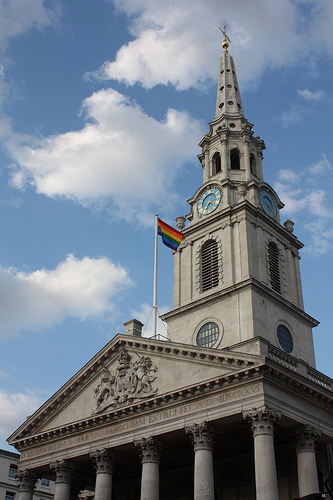 Each year, St Martin's in the Fields shows its support by flying the rainbow flag - Image zefrog