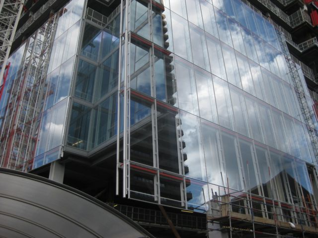 Panels of glass have been installed on the lower floors.