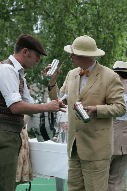Two competitors prepare their entry during the Martini Knockout Relay.