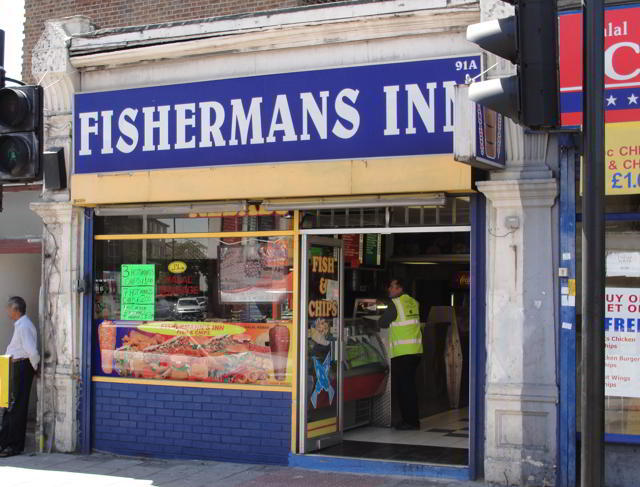 """Upper Clapton Road: """"Carefully, the man wrapped Neil's fish and chips in white paper, and then wrapped the packet again in a sheet from the local newspaper."""" p.163"""