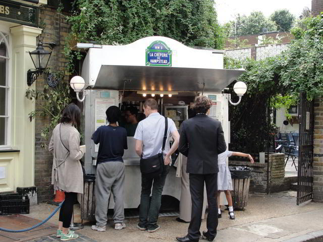 """La Crêperie de Hampstead: """"'How about this bench? We can smell the pancake van from here.'  ...Artemis breathed deeply, and after a few moments she began to enjoy the scent of bubbling butter and melted sugar."""" p.70"""