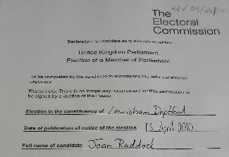 "Lewisham Deptford MP Joan Ruddock's Election Expenses Reveal Electoral Commission ""Loophole"""