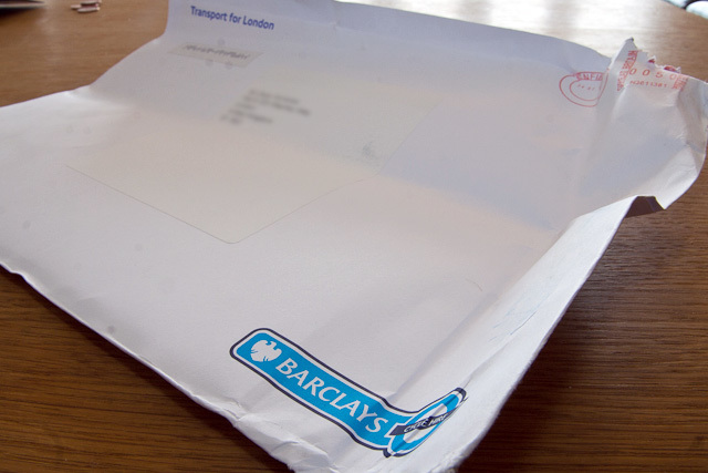 The envelope was a bit mangled in one corner... we'll put that down to the ministrations of Royal Mail, not TfL. The bottom right of the envelope has the Cycle Hire roundel, so you won't mistake it for your Barclaycard bill