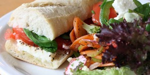 Sandwichist - Home Grown Tomato, Basil And Mozzarella Sandwich From Look Mum No Hands!