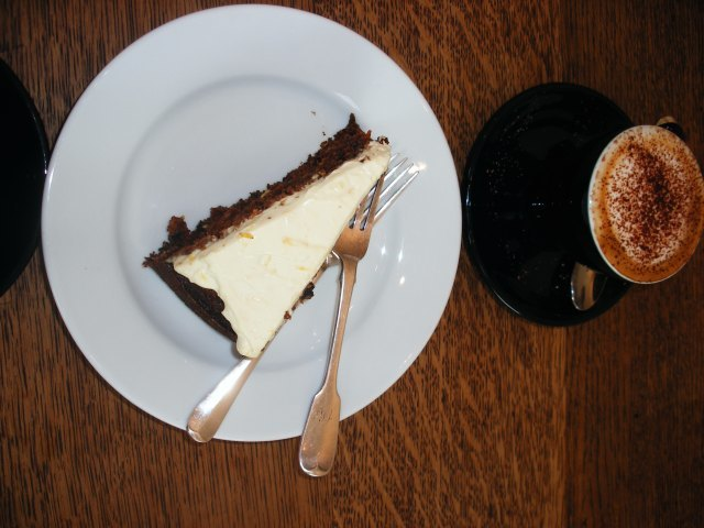 Coffee and carrot cake. For a wet August morning.