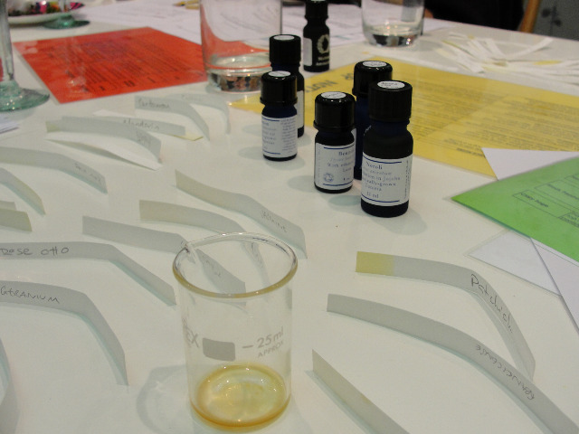 Blending essential oils together to create a personal perfume