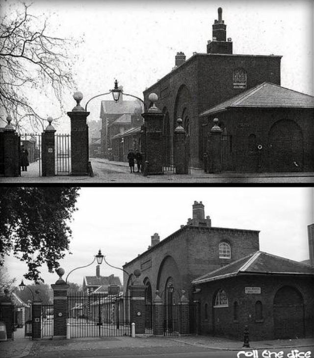 At first, it seems like nothing's changed at Chelsea Hospital between 1912 and 2009, but note the relative position of the gates to the buildings.