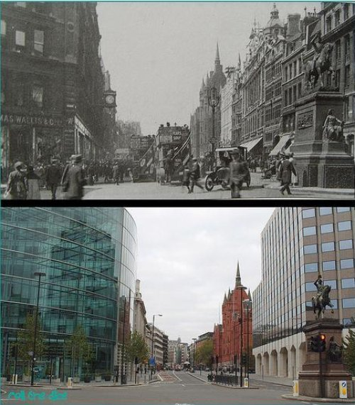 The view from Holborn Circus in 1920 and 2009. Prince Albert and the Prudential Building remain constant.