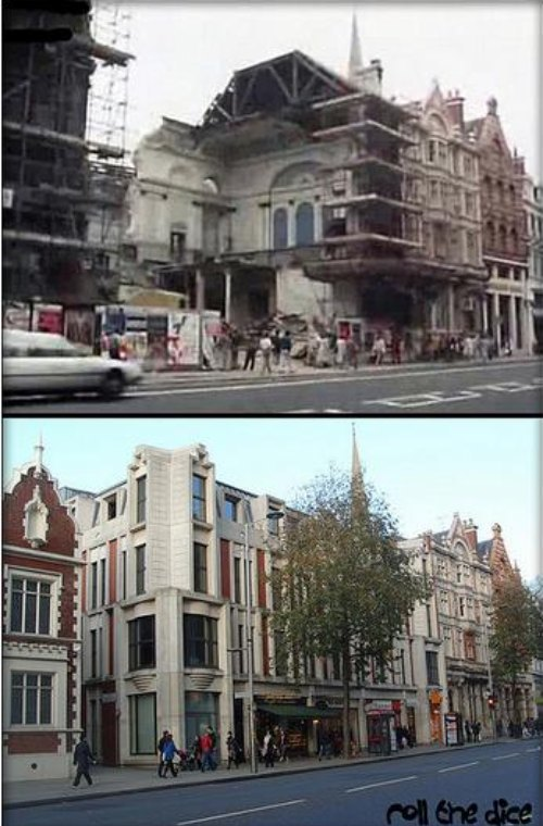 Finally, an image from Kensington High Street, showing the demolition of the old town hall (1985), and a modern view.