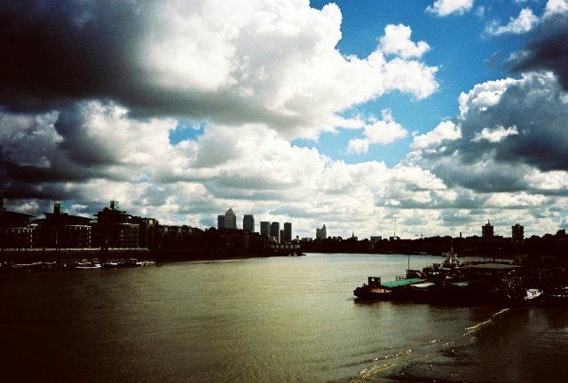 Thames blue sky and clouds