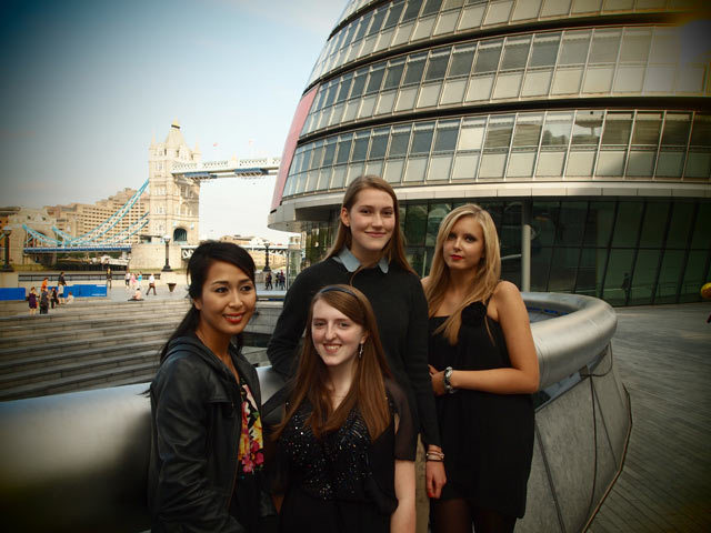Local Shoot Nations commended photographers outside City Hall yesterday: Clockwise from left: Warattaya, Eve, Anastasija and Lucy