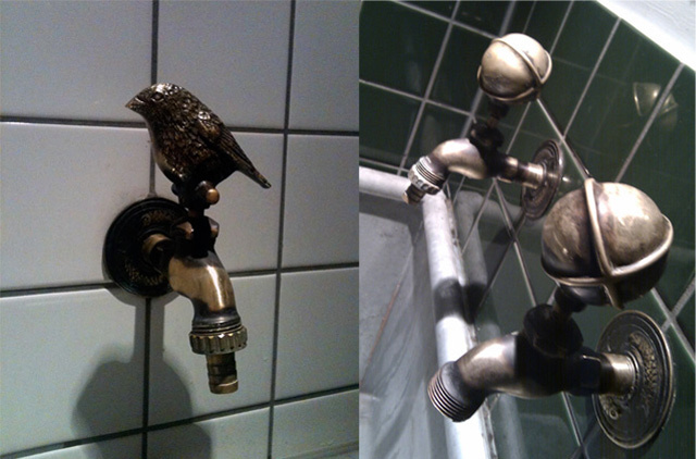 The taps in the toilets feature sparrows in the ladies' and what would appear to be testicular objects in the gents'. Pictures by Linsdey Clarke and Jason B Standing