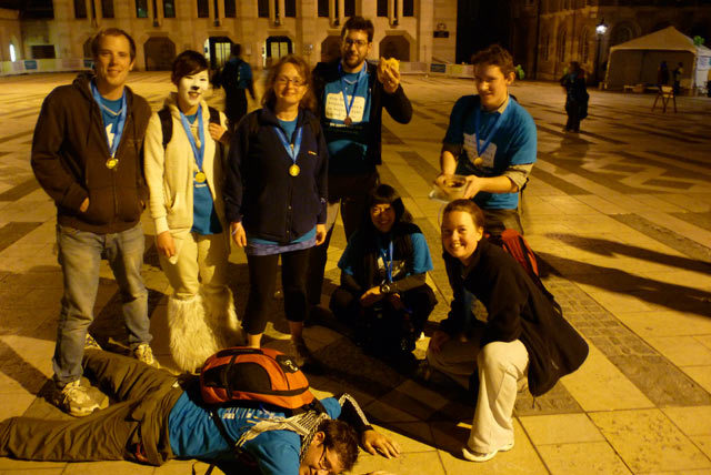 5am FINISHED! Dan collapsed. Sarah out of picture. Bacon rolls on hand.