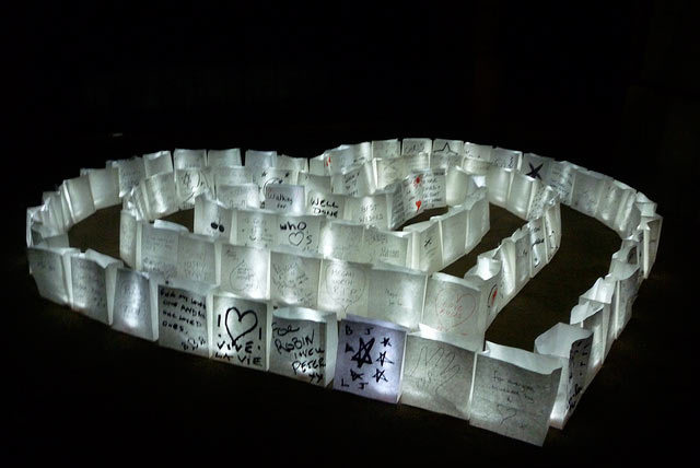 A heart of night hike lanterns at Horseguards By Lindsey