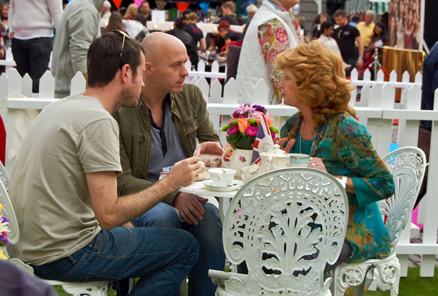 Rula Lenska enjoys the vintage tea party