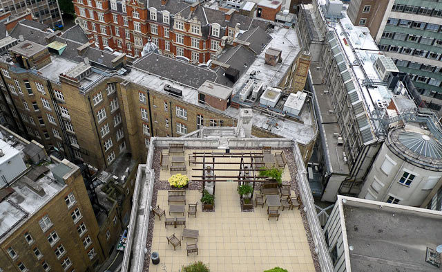 Roof terrace of 55 Broadway, the London Undeground HQ, taken from the building's 14th floor. Photo / DeanN