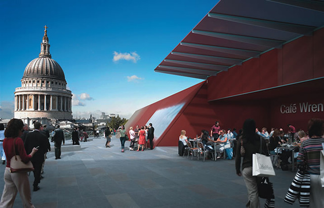 Computer render of the roof terrace. 'Cafe Wren' is unlikely to be part of the finished building.
